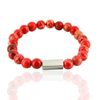 Bracelet pierre naturelle rouge sédiment - ROXANE